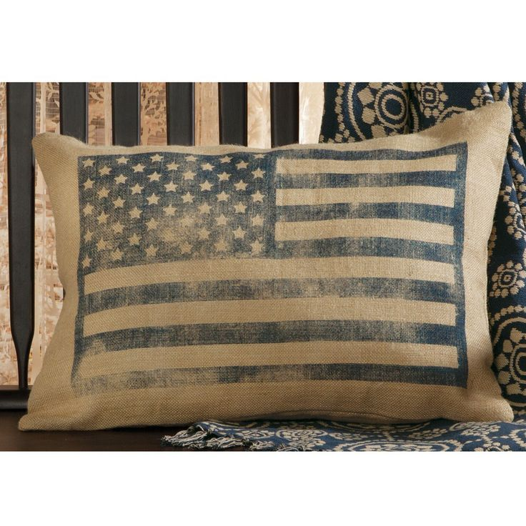 flag burlap pillow