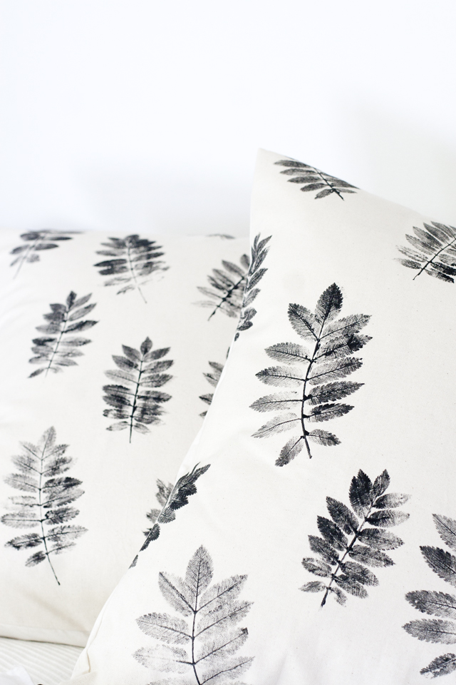 DIY leaf pillow